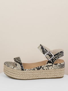 Single Band Ankle Strap Snake Jute Wedge Sandals