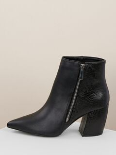 Pointed Toe Lizard Detail Chunky Heel Booties