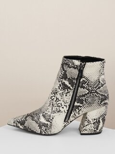 Snakeskin Pointed Toe Block Heel Ankle Boots