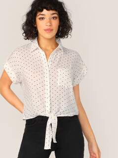 Button Front Tie Hem Cuff Sleeve Polka Dot Shirt