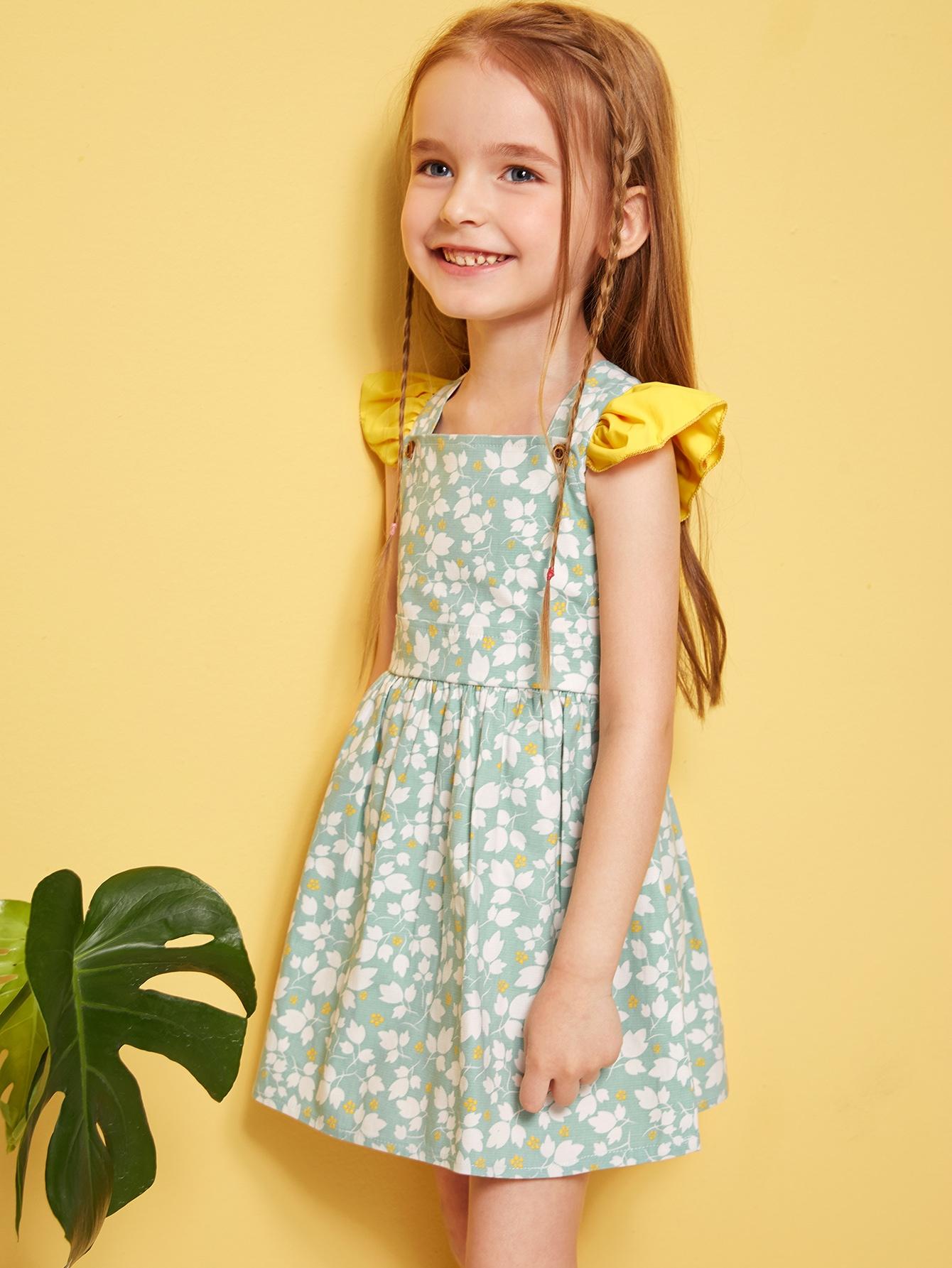 Фото - Цветочное платье-сарафан с оборками для девочек от SheIn цвет зелёные