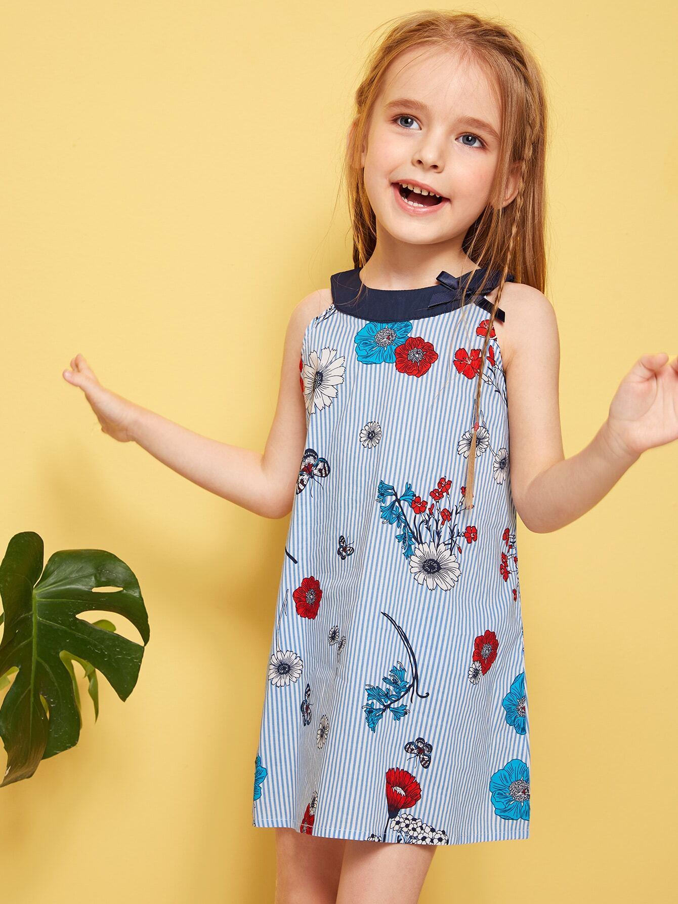 Фото - Полосатое платье-халтер с цветочным принтом для девочек от SheIn цвет синие