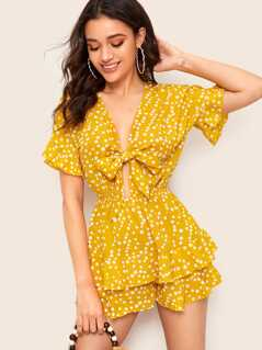 Knot Front Ruffle Trim Layered Polka Dot Romper