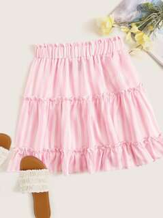 Frilled Trim Layered Striped Skirt