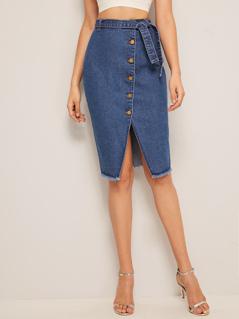 Self Belted Button Up Frayed Denim Skirt