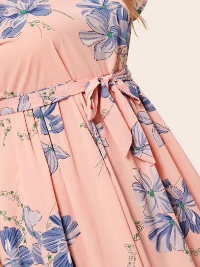 SheIn / Plus Floral Print Belted Maxi Dress