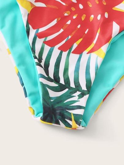 SheIn / Tropical Bandeau With Tie Side Bikini Set
