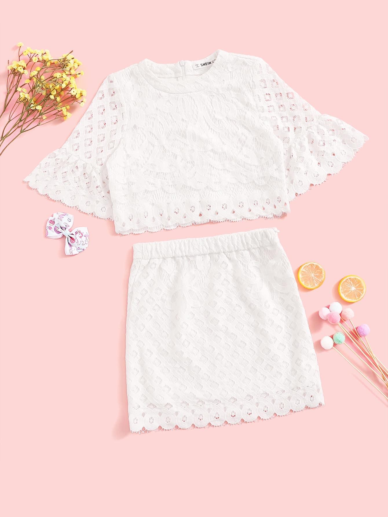 Фото - Кружевный топ с оригинальным рукавом, молнией и юбка для девочек от SheIn белого цвета