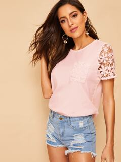 Guipure Lace Sleeve & Pocket Detail Tee