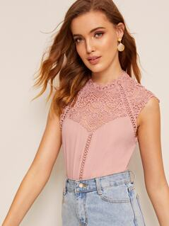 Keyhole Back Guipure Lace Mock-neck Top