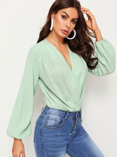 Surplice Wrap Bishop Sleeve Bodysuit