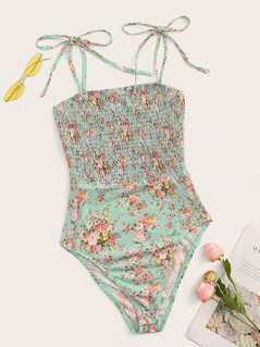 Tie Strap Shirred Ditsy Floral Bodysuit