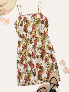 Zip Back Fitted Tropical Slip Dress