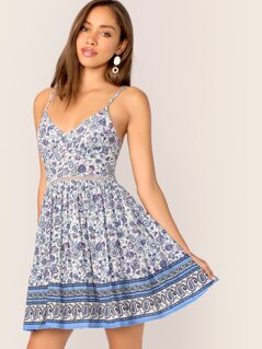 Paisley Print Cutout Tie Back Button Slip Dress