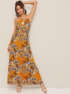 Tied Fringe Floral Print Maxi Slip Dress