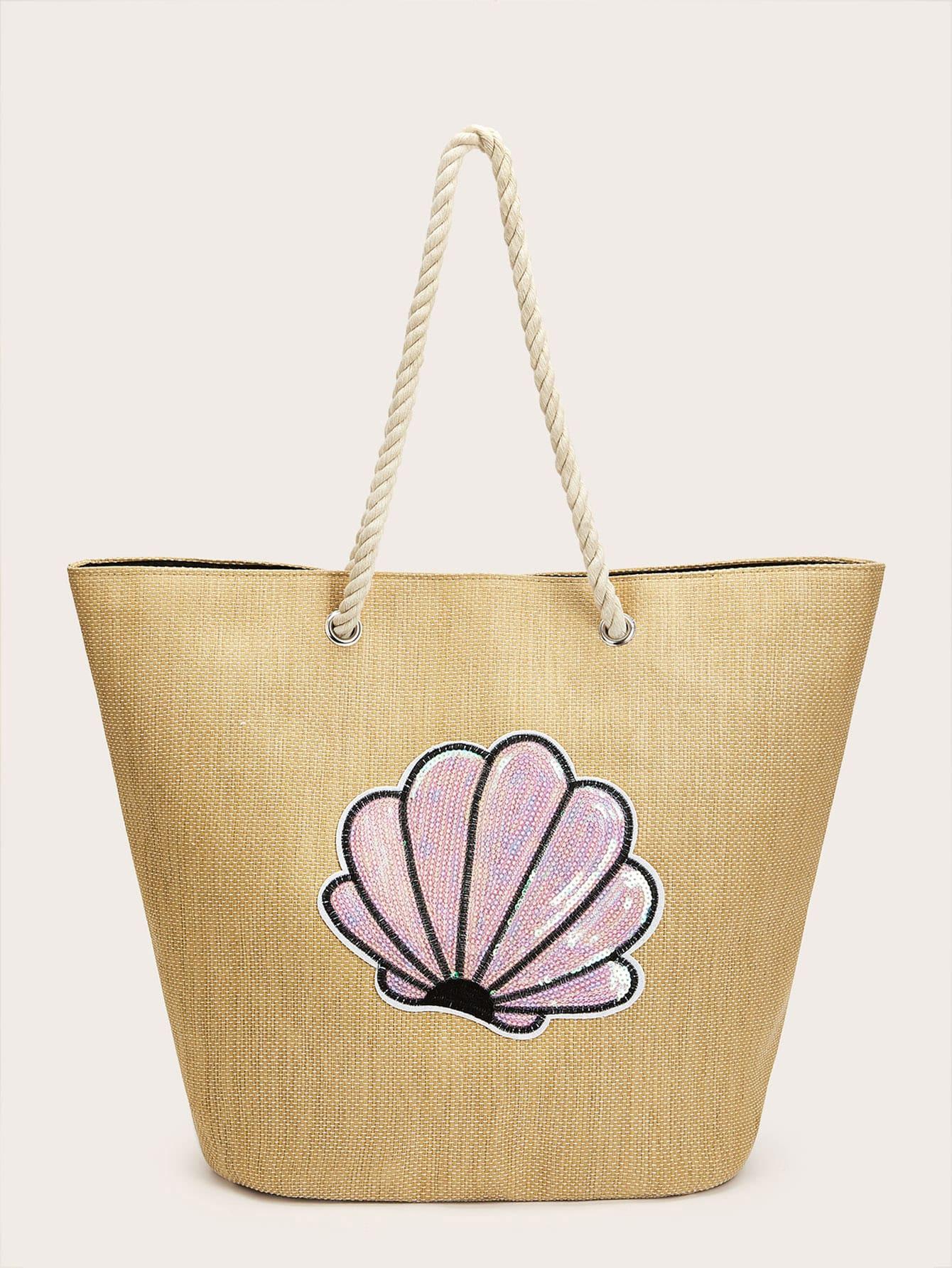 Фото - Соломенная большая сумка с блестками от SheIn цвета хаки