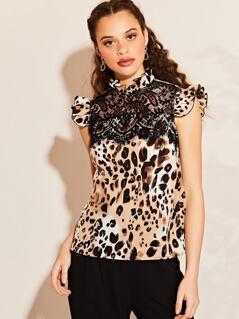 Lace Detail Leopard Print Blouse
