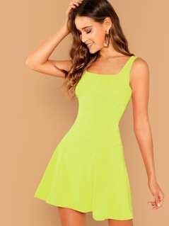 Neon Lime Skater Dress