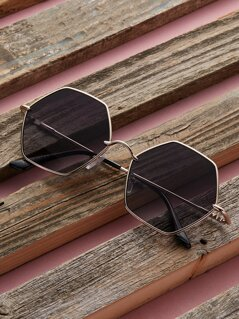 Metal Frame Colored Lens Octagon Sunglasses