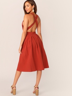 Buttoned Crisscross Back Pleated Dress