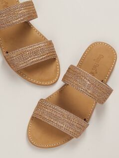 Twin Woven Straw Bands Flat Slide Sandals