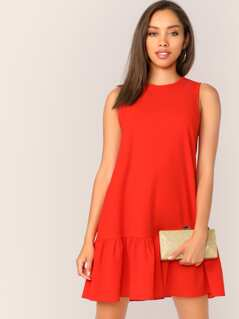 Neon Orange Keyhole Back Ruffle Hem Dress