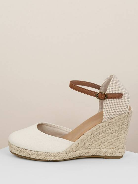 5866f806fd4 Closed Toe Jute Trim Platform Espadrille Wedges