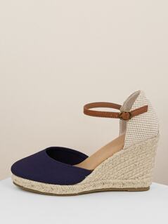 Ankle Strap Closed Toe Jute Platform Wedges
