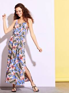 Tropical Floral Side Split Maxi Dress