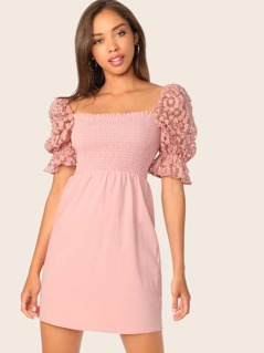 Embroidered Mesh Puff Sleeve Shirred Dress