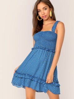 Frill Trim Shirred Bodice Polka Dot Dress