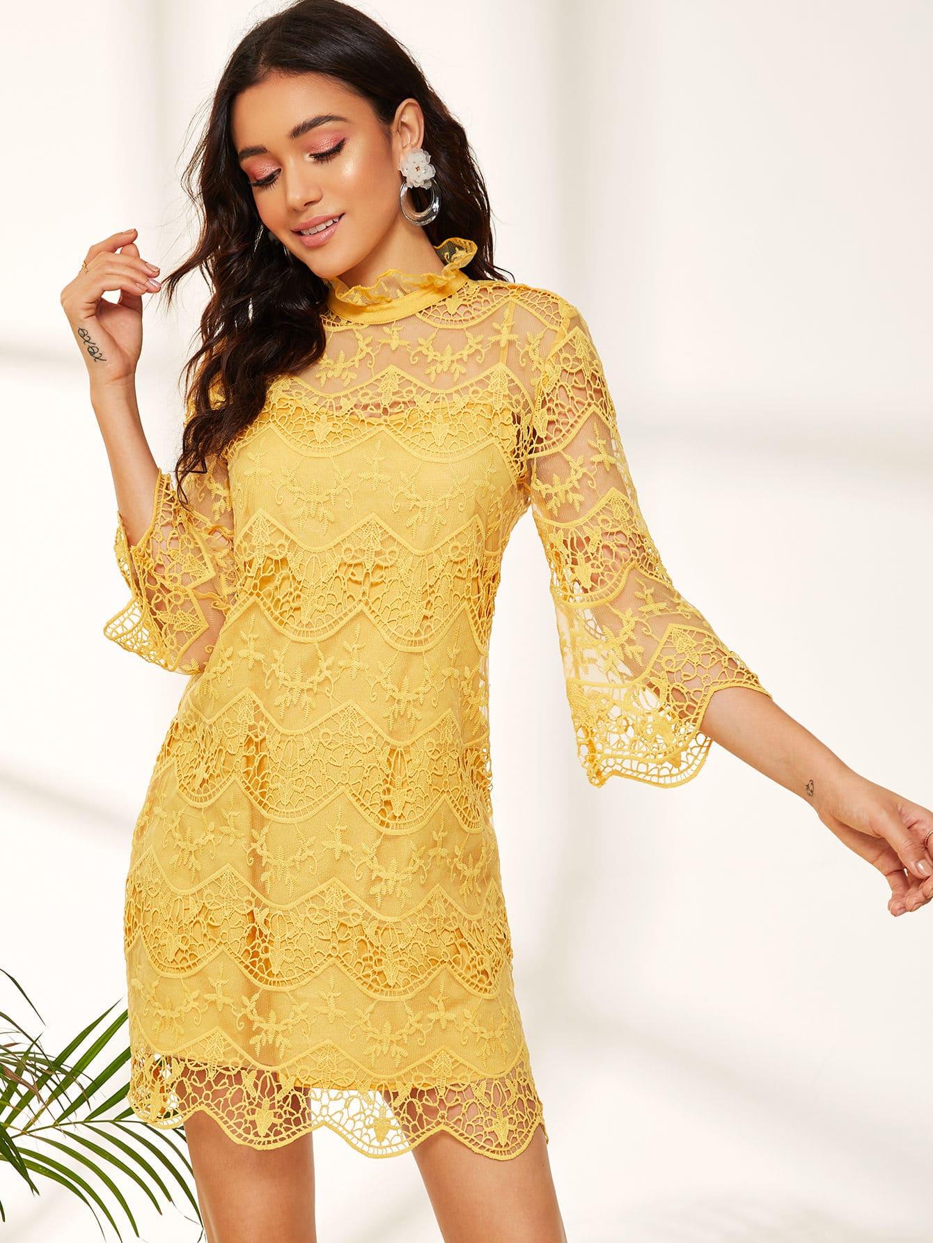 Фото - Сетчатое платье с вышивкой, оборкой и воротником-стойка от SheIn цвет жёлтые