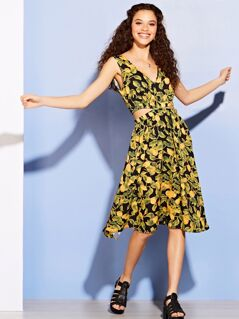 Lemon Print Cut Out Side Midi Dress