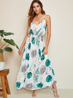 Tropical Print Drawstring Waist Flare Dress