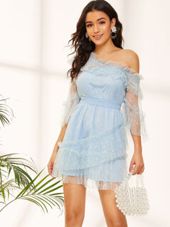 Asymmetric Shoulder Lace Overlay Shirred Waist Dress
