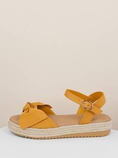 Bow Front Open Toe Jute Flatform Sandals