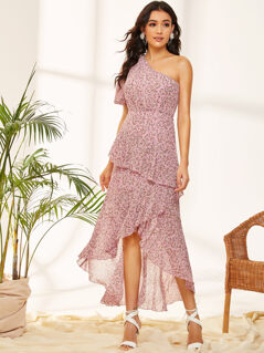 One Shoulder Ruffle Trim Dip Hem Ditsy Floral Dress