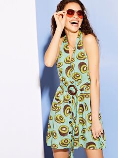 Fruit Print Halter Sundress