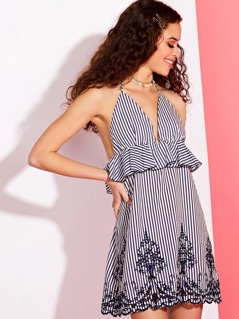 Cutwork Lace Detail Stripe Halter Neck Sundress