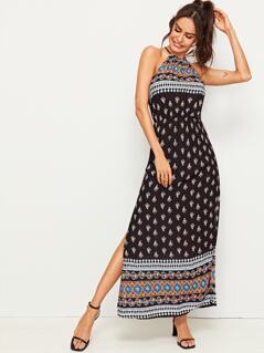 Tribal Print M-slit Hem Halter Dress