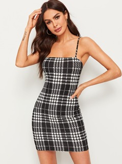 Houndstooth Print Slip Dress