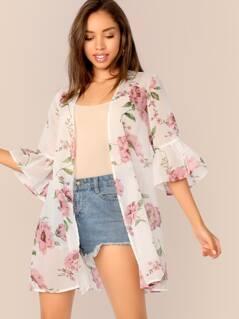 Floral Print Bell Sleeve Semi Sheer Kimono