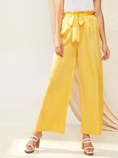 Solid Paperbag Waist Wide Leg Pants