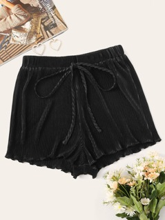Drawstring Waist Lettuce Trim Pleated Shorts
