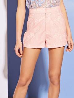 Jacquard Floral Button Shorts