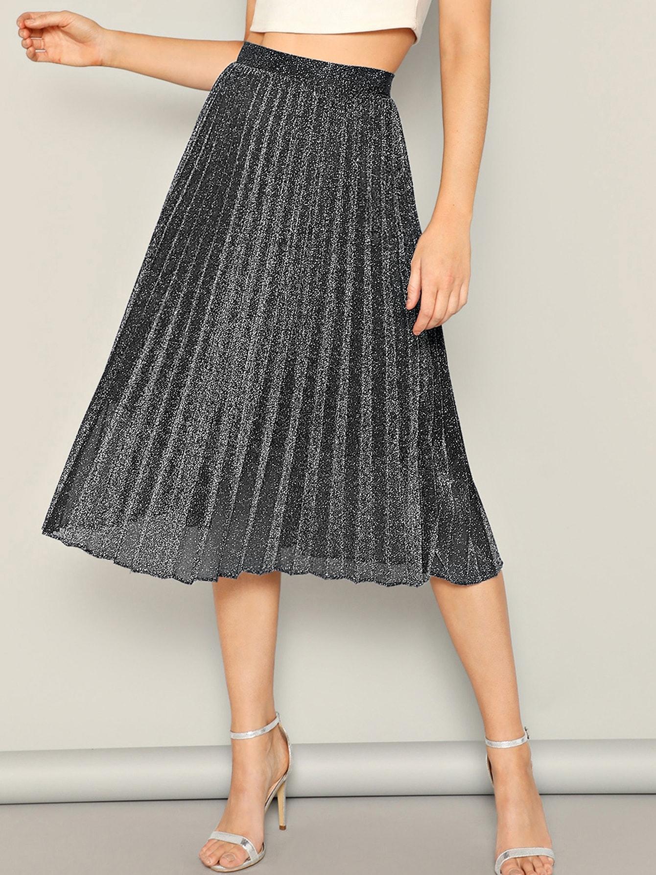 Фото - Блестящая юбка с высокой талией от SheIn серого цвета