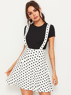 Polka Dot Suspender Cycling Skirt