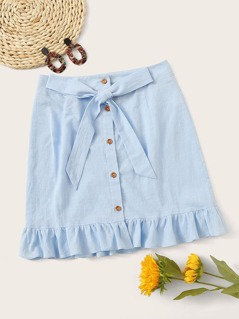 Button Up Knot Front Ruffle Trim Skirt
