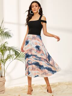 Elastic Waist Tie Dye Pleated Skirt