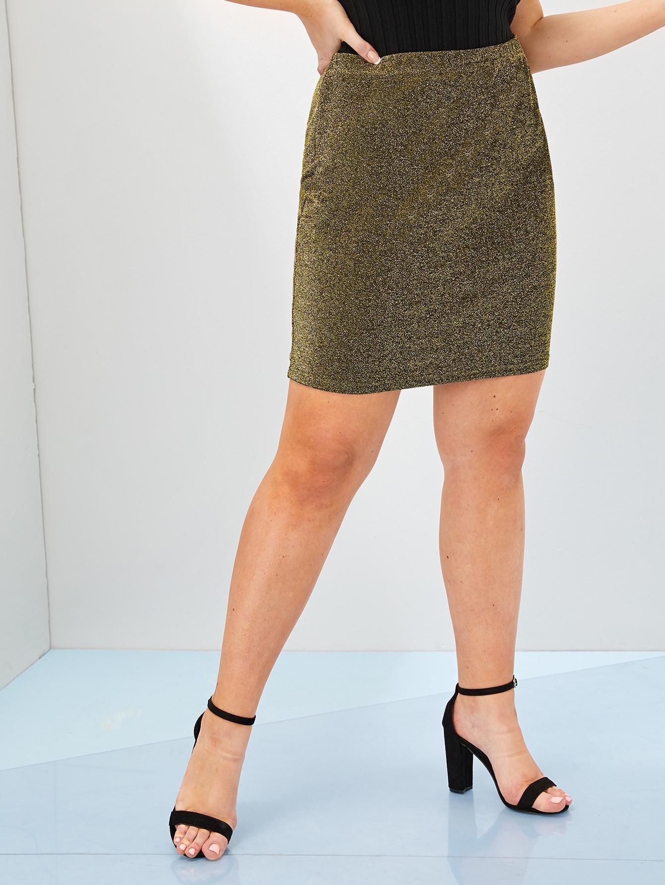 Фото - Блестящая юбка с высокой талией размера плюс от SheIn цвет золотые
